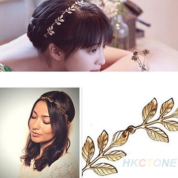 Lady Women Girl Olive Leaves Headband Ring Hair Head Band Wrap Forehead Round Chain Hairband Garland Wedding Fashion Acessories