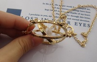 Free Shipping For 1 Pcs 2013 Hot sale Harry Potter Time Turner  plated statement necklace Horcrux Time-Turner Necklace JP081302