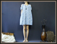 2013 Original Design High Quality Cotton Wathet Blue Print  women's Cute Strapless Voluminous  Dress  wholesale and retail