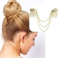 Chic Gold Tone Leaf Hair Cuff Chain Comb Jewelry Headpiece Headband Head Piece