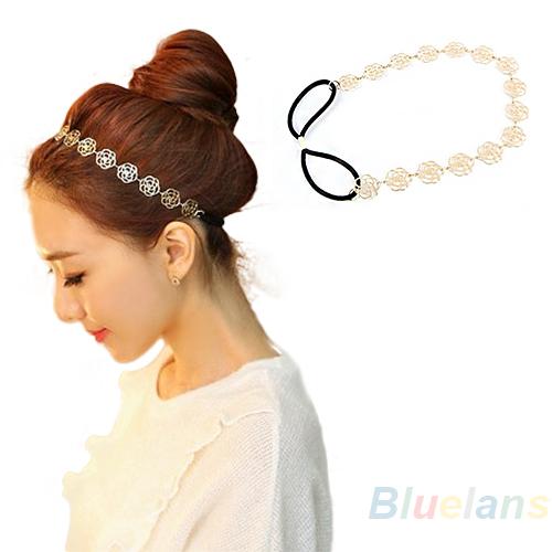 Fashion New Lovely Metallic Lady Hollow Rose Flower Elastic Hair Head Band Headband Headwear Accessories Women Garland 014Q(China (Mainland))