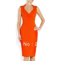 Formal Work Office Career Commute Knee-Length Dresses. Women's Sexy Sleeveless Orange red, Black Pencil Dress V- neck  IR073