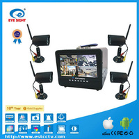"4ch Wireless cctv  system hard disk dvr  with 7"" TFT LCD Monitor 4 Wireless Cameras"