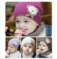 10piece/Lot available Wholesale cute bear Baby Cap Kids Hats Cotton Beanie Infant Hat children Baby Hat CL0213