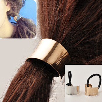 Min.order is $10 (mix order+gift)Free shipping!Vintage Shining Metal Elastic Ponytail Holders Unique Head  Hair Ties for Girls