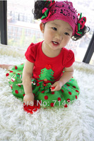 5pcs/lot New Cotton Children's Christmas Dress Baby Girls Kids Clothing Red Dots Dresses for Christmas Day Gift Free Shipping