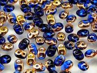 Czech Two-Hole Seed Beads SUPERDUO (2,5x5mm) 17 gram(ab.200pcs)-SAPPHIRE CAPRI GOLD RK1240