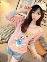 Women Cute Duck Pattern Full Sleeve Round Neck Pullover Sweater Hoodies Free Shipping D303-2-8091