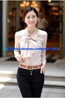 Fashion women dress shirt vintage long sleeve blouse Bow Puff korea big size XXXL 2013/2014 Retails Office Wear