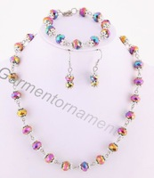 (Min.$10-mix order) 10mm facted glass crystal beaded with spacers beaded handmade bracelet necklace earring as 1 jewelry set