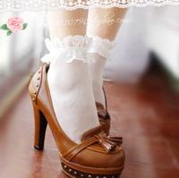 weet lolita socks princess vintage spring and summer thin lace decoration Core-spun Yarn short socks white multicolor can choose
