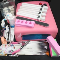 Pro 36W UV GEL Pink Lamp & 15 Brush Nail Art Tool Kits #24