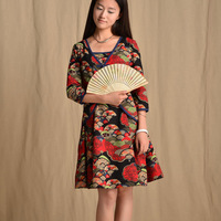 [LYNETTE'S CHINOISERIE - BE.DIFF] Autumn original design national trend faux two piece linen slim one-piece dress santenic