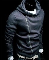 Top Grade Free shipping Big yards of foreign trade more than men's fashion personality zip fleece hooded fleece