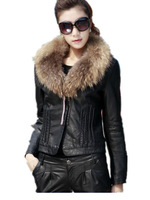 Free Shipping Woman 2013 Autumn Winter Elegant Fashion Leather Coat,Plus size Real Fur Collar PU  Leather Jackets M- 4XL