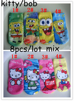 children accessories kids ankle high cotton animal cat print spongebob hello kitty socks for girls autumn winter sponge bob item