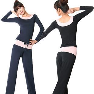 Spring and summer yoga clothing long-sleeve yoga clothes set slim pad