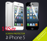 10set/lot High Clear Front Screen Protector For iPhone 5 Wholesales Free Shipping