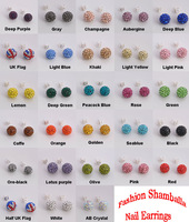 Whosale, Shamballa Jewelry Stud Earrings 20pcs(10pairs)  Clay Material With Full Crystal Stud Earrings,No Gift Box,Free P&P