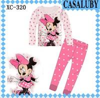 New style children's clothing, girls Mickey Sleepwear long sleeve t-shirts + Pant 2-7 year Kids sleepwear XC-320