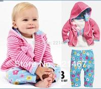 retail 2014 Autumn 3 pcs girls striped suit t shirt +pants+coat free shipping  5698