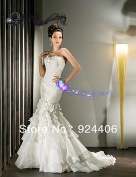 Free shipping,2013,Customize,Wedding dress,Wedding gown.Mermaid/Trumpet,Sweep/Brush,Strapless,Hi-Lo,Flower,Lace,Organza,Taffeta