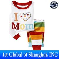Wholesale 6sets/lot new 2013 100% Cotton Brand Children pajamas i love mom kids set of winter pajamas Free shipping