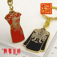 Free Shipping Costume Cheongsam Double-breasted Top Keychain Cute Key Chain Novel Key Ring Holder Zinc Alloy Key Holder Key Ring