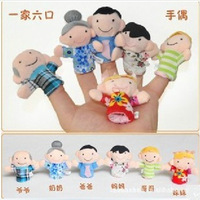 Cartoon Plush Family Puppet Baby Plush Toy Finger Puppets Hand Talking Props( 6 designs group mixed) Free Shipping