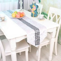 Simplicity Fashion White Color Velvet Table Runner Concentric Circles Rhinestone Tablecloth/Table cover Customizing Accepted
