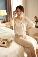Loose chiffon shirt blouse Big yards long sleeve lace chiffon shirt-end