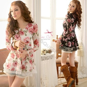 2013 New Fashion Crew Neck Rose Pattern Print Cheap Lace Floral Tops Long Sleeve Cotton Blouse White/Black 5192