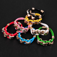 Min order $15 Fashion accessories neon color candy color square rivet PU leather bracelet colorful multicolor