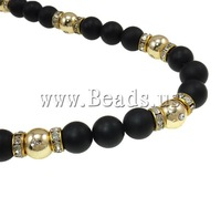 Free shipping!!!Shamballa Necklace,Men Fashion Jewelry, Zinc Alloy, with Wax Cord & Acrylic, Round, gold color plated