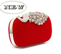 New arrive!High grade spot fine women Evening bag peacock decorate fashion clutch bag 6color available wholesale