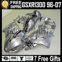 7gifts+Tank For SZKI Hayabsa GSXR1300 GSX-R1300 96 97 98 99 00 01 Silvery black  1526 GSXR 1300 02 03 04 05 06 07 Fairing
