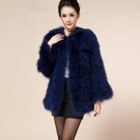 2014 ostrich fur feather turkey fur coat medium-long outerwear long-sleeve plus cotton many color real fur jacket free ship
