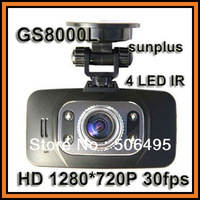 "Free Shipping Sunplus GS8000L Car DVR Camera HD 1280*720P 30fps 2.7"" TFT 4 LED IR Night Vision Motion Detect Video Recorder"