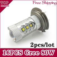 Free Shipping 2pcs/lot  80W H7  High Power cree Xenon White Headlight Led Vehicles Car   Fog Lights Bulbs