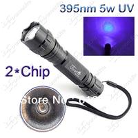 New Arrival~ UltraFire WF-501B 2*Chip  5W UV LED 395nm UV LED Flashlight Torch Light Lamp Mail Free