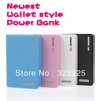 Newest Wallet style Power Bank 12000mAh USB Battery Charger External Battery Pack With LED Lighting for iphone Free shipping