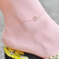 Tea flower titanium anklets 18k rose gold color gold fashion female