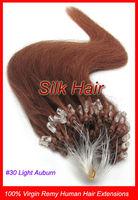 "Free Shipping 50g 18"" 20"" 22"" Keratin Micro Loop Ring Links Virgin Remy Human Hair Extensions #30 Light Auburn 0.5g/s"