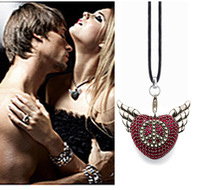 2013 trendy necklace, women necklace, Sterling Silver  Sabo necklace,Rebel at Heart pendant, CZ zirconia pendant,Winged heart