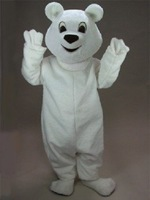 New Arrival White Polar Bear Mascot Costume Halloween Fursuit Fancy Dress Free Shipping