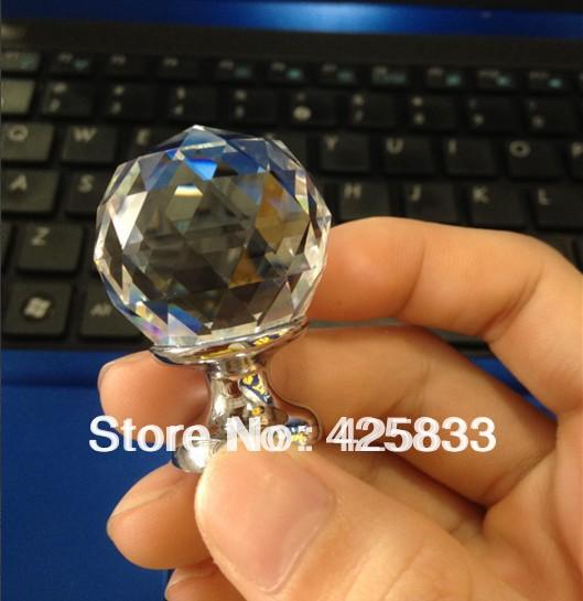 Hot Sale 10pcs K9 Clear Round Crystal Knobs Glass Dresser Furniture Kitchen Cabinets Handles Drawer Pulls Crystal Drawer Pulls(China (Mainland))