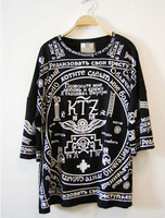 Ktz geometry skull letter print loose bf plus size ultra long t-shirt HARAJUKU