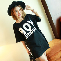 Clothing bigbang gd boylondon print loose short-sleeve T-shirt lovers design