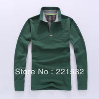 2013 Autumn men Casual  POLO shirts wholesale Korean Fashion collar Long-sleeved T-shirt men 5 Color Size M-XXL
