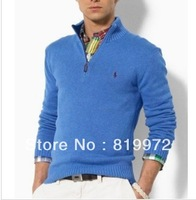 Free shipping!Polo zipper men long sleeve sweater Paul cotton knit/a variety of color choices of recreational men's clothing